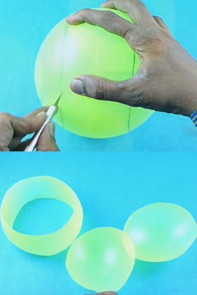 Now, cut the plastic ball along the marking to get three pieces