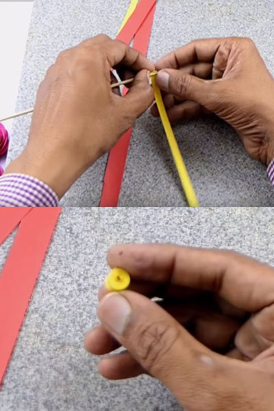Create small quilling rolls from quilling stripes