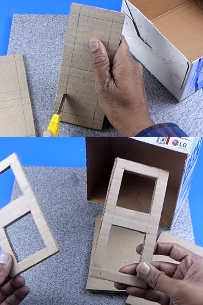 Stick a colored paper on the cardboard box