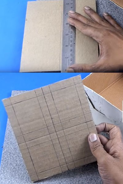Draw the measurements on the cardboard piece