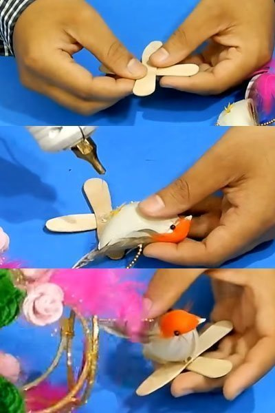 Take Ice-cream sticks and make a base for birds