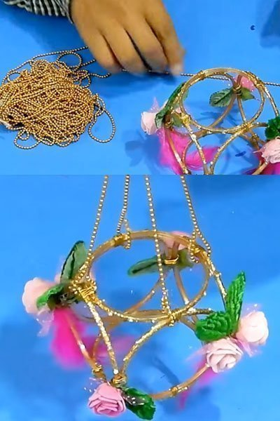 Take beaded wire and hang the craft structure