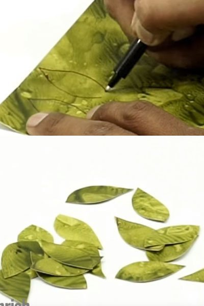 Draw small leaves on the printed paper sheet