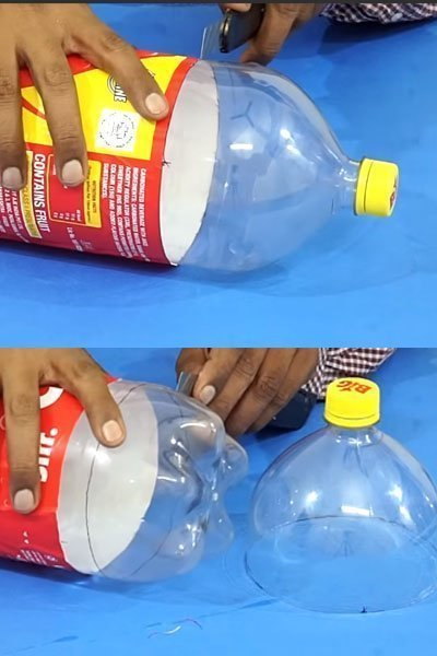 Lets take an empty plastic bottle of cold drink and cut it.