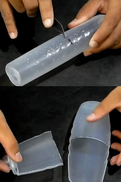 Cut the plastic bottle using cutter or knife