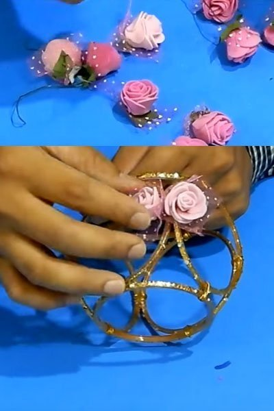 Take artificial plastic roses and stick on the bangles