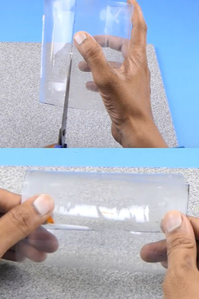 Stick the plastic bottle pieces