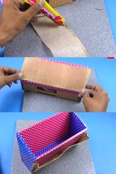 Organizer from Cardboard and Jute Cloth